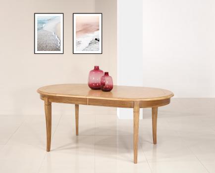 Table ovale Christophe 180*100  en Chêne Massif de style Louis Philippe 2 allonges incorporées de 40 cm Plateau marqueté DISPONIBLE 1 SEULEMENT Finition Chêne naturel antik