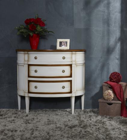 Commode 1/2 Lune 3 tiroirs en Merisier de style Louis XVI, LAQUEE GRIS ET TEINTE DU BOIS