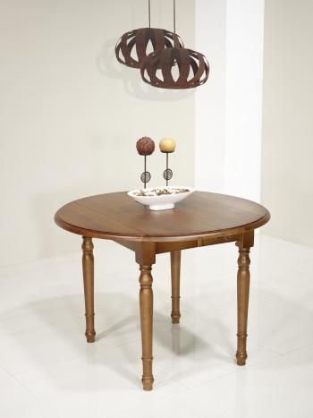 Table ronde à volets Simon réalisée en Chêne Massif de style Louis Philippe DIAMETRE 110 avec 2 ALLONGES DE 40 CM