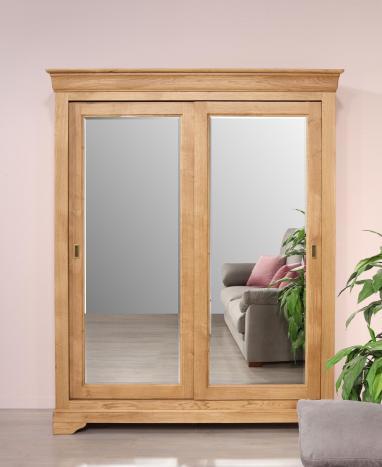 Armoire 2 portes Nathan réalisé en Chêne Massif portes coulissantes MIROIR de style Louis Philippe