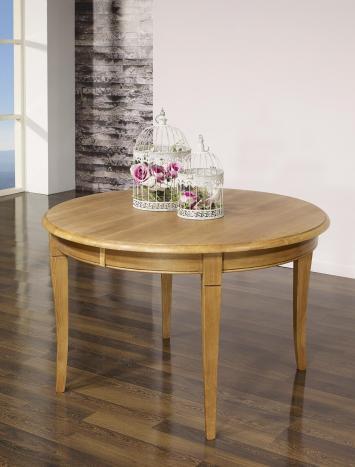 Table ronde Fabien réalisée en Chêne massif de style Louis Philippe DIAMETRE 110 avec 5 allonges de 40 cm PIEDS SABRES