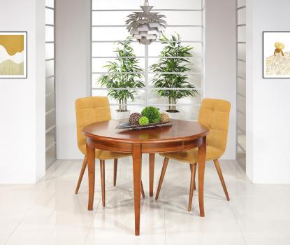 Table ronde 4 pieds sabres Camille  en merisier massif de style Louis Philippe DIAM.110 +  2 allonges de 40 cm