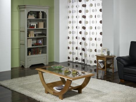 Superbe Table Basse Guillaume en Chêne Massif plateau verre