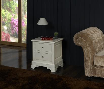 Chevet ou bout de canapé anne-laure, réalisé en merisier massif de style louis philippe patine creme