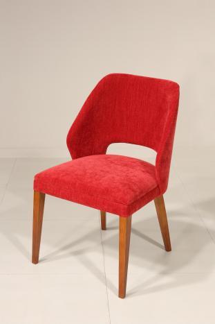 Chaise Nina assise et dos capitonnés pieds en Merisier massif de ligne Contemporaine Tissu Boston Red