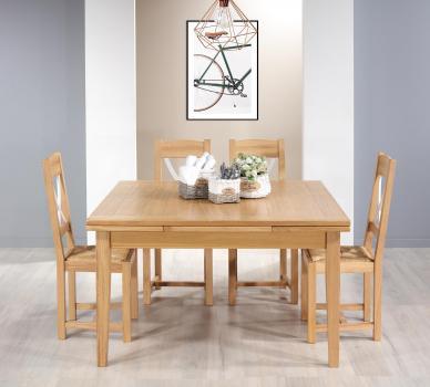 Table de Campagne carrée 135x135  en Chêne Massif 2 allonges de 40 cm SEUELEMENT 1 DISPONIBLE