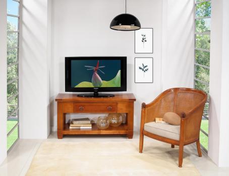 Meuble TV Adéline spécial écran plat en MERISIER de style Campagne Largeur 110 cm