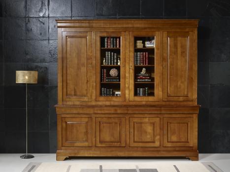 Bibliothèque 2 corps 4 portes anna, réalisée en merisier massif de style louis philippe portes bois de chaque cote