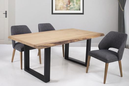 Table de repas fer et chêne massif 180x100 Epaisseur de la planche 45 cm Pièce unique SEULEMENT 1 DISPONIBLE