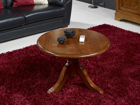 Table Basse ronde Annie, réalisée en Merisier Massif de style Louis Philippe