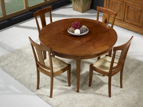 Table ronde Célia  en merisier 4 pieds Directoire Diamètre 130 - 1 allonge incorporée rangée sous le plateau