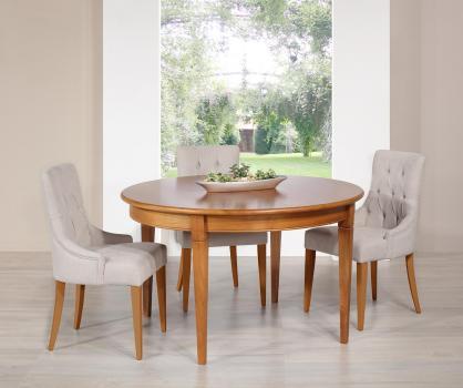 Table ronde Célia  en merisier de style Directoire Diamètre 130 - 1 allonge incorporée rangée sous le plateau