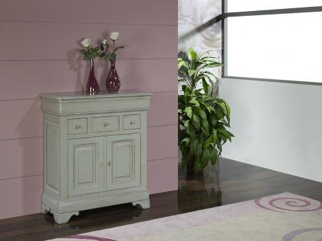 Petit Buffet 2 portes 4 tiroirs Jeanne réalisé en Merisier massif de style Louis Philippe GRIS PATINE ET USE