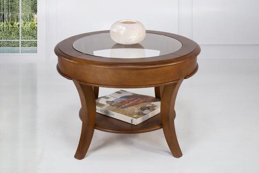 Table basse ronde Gaël  en Chêne Massif de style Louis Philippe Plateau Verre Diamètre 70 cm SEULEMENT 1 DISPONIBLE