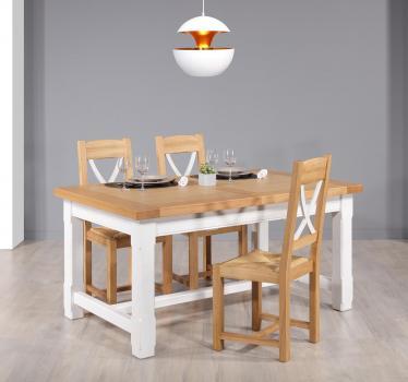 Table de ferme rectangulaire AXEL  en Chêne massif 160x100 + 2 allonges de 45 cm Finition Chêne Naturel et Ivoire