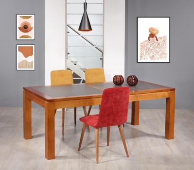Table de repas Aurore  en Merisier Massif Contemporaine Plateau céramique Largeur 200 cm SEULEMENT 1 DISPONIBLE