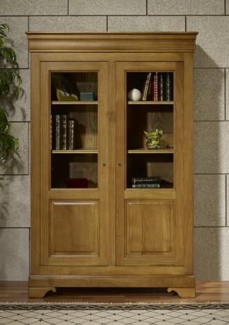 Bibliothèque 2 portes antoine réalisée en chêne massif de style louis philippe