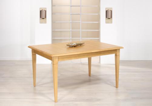 Table de repas Jérôme  en Chêne de style Louis Philippe 140x100 Pieds fuseaux 1 allonge portefeuille de 49 cm