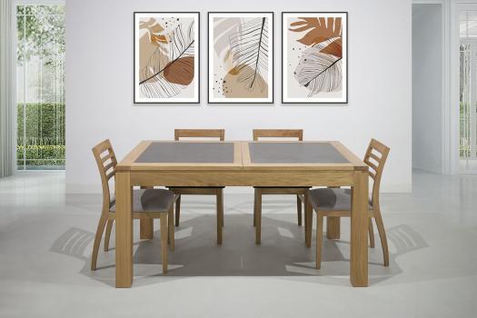Table de repas rectangulaire 160X100 Mathéo  en Chêne Ligne Contemporaine Plateau avec céramique