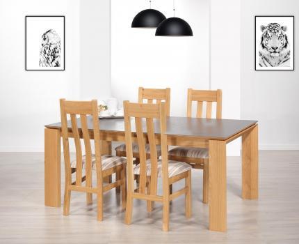Table rectangulaire lsaac  en chêne  et céramique de ligne contemporaine 180x100 + 2 allonges incorporées Céramique Iron Grey