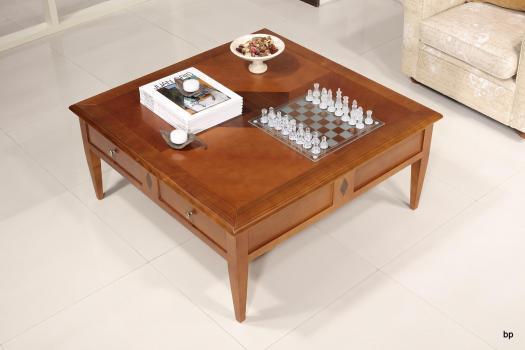 Table Basse Amandine réalisée en merisier de style Directoire 100x100