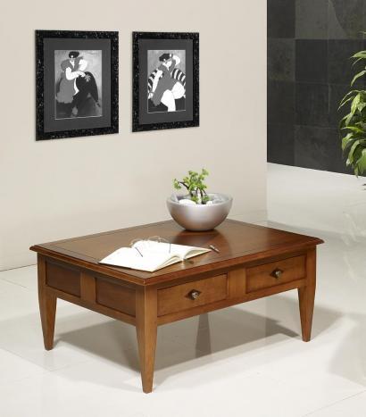 Table Basse rectangulaire 100x80 réalisée en merisier de style Directoire