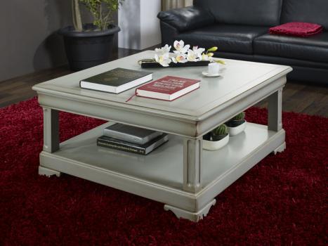 Table Basse carrée Clarisse réalisée en Chêne de style Louis Philippe Finition chêne gris antiquaire