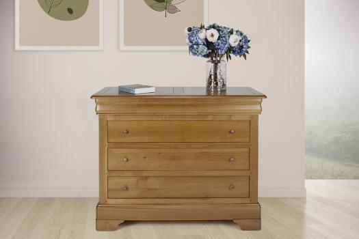 Commode 4 tiroirs   en Merisier Massif de style Louis Philippe SEULEMENT 1 DISPONIBLE
