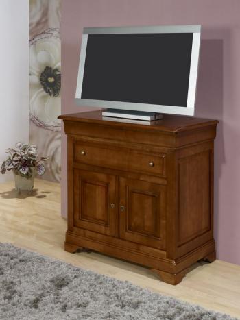 Meuble tv 2 portes amandine réalisé en merisier massif de style louis philippe