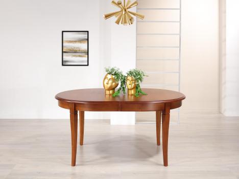 Table ovale  160x110  en Merisier Massif de style Louis Philippe 2 allonges incorporées de 39 cm