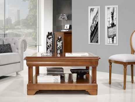 Table basse carrée Anna réalisée en Merisier de style Louis Philippe
