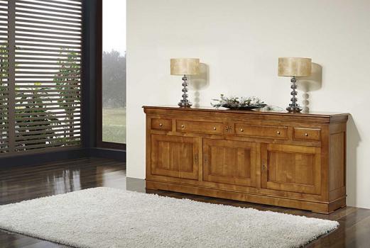 Buffet 3 portes 4 tiroirs Marie, réalisé en Merisier Massif de style Louis Philippe