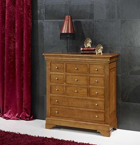 Commode 11 tiroirs Rémy  en Merisier Massif de style Louis Philippe