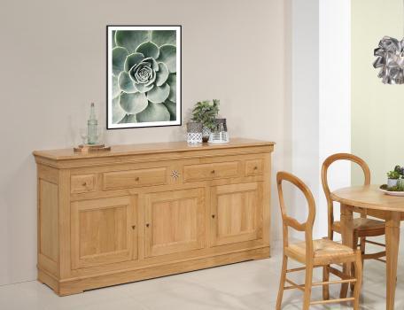 Buffet 3 portes 4 tiroirs quentin réalisé en chêne massif de style louis philippe finition chêne naturel (photographies)