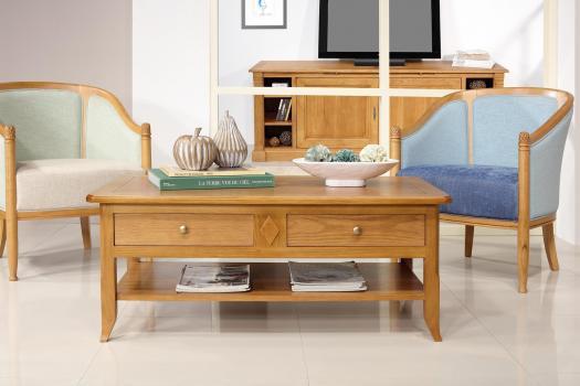 Table Basse Clément réalisée en Chêne de style Louis Philippe PLATEAU MARQUETTE (Finition Chêne Doré)
