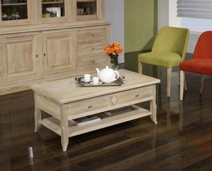 Table Basse Clément réalisée en Chêne de style Louis Philippe PLATEAU MARQUETE Finition Brossé Blanchi