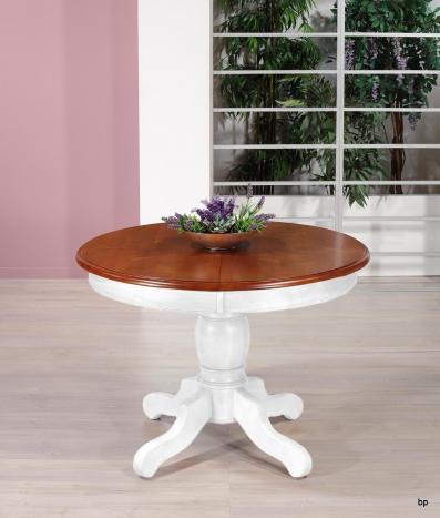 Table ronde pieds central Victoire de style Louis Philippe  en merisier massif diamètre 120 cm 1 allonge intégrée