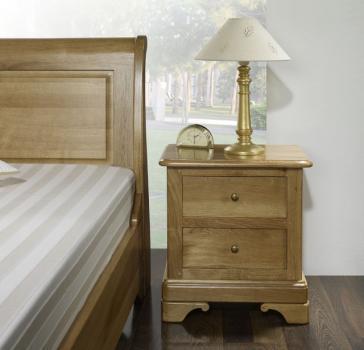 Chevet 2 tiroirs Jean-Baptiste réalisé en Chêne Massif de style Louis Phlippe