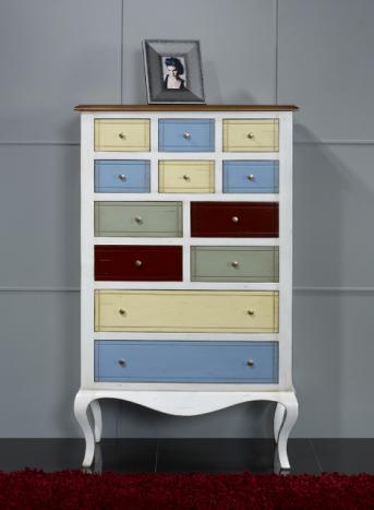 Commode ou meuble d'entrée delphine, réalisé en merisier et chataignier multicolore