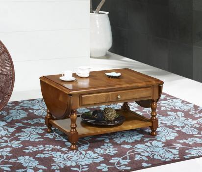 Table basse à volets Marie-Laure réalisée en merisier massif de style Louis Philippe
