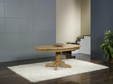 Table ovale pied central réalisée en chêne massif de style louis philippe 170*110 + 3 allonges de 40 cm