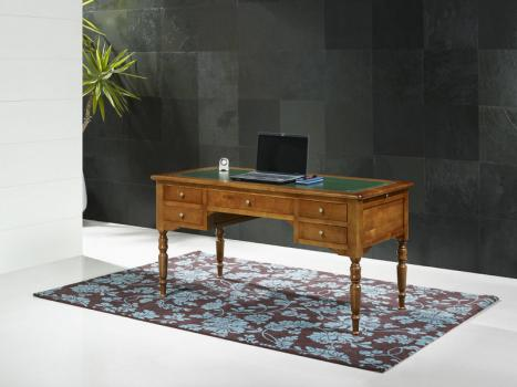 Bureau Ministre 5 tiroirs, réalisé en Merisier Massif de style Louis PhilippeSurface d'écriture vert anglais
