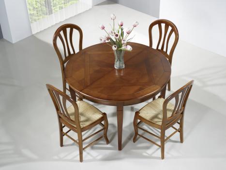 Table ronde 4 pieds plateau marquetté réalisée en Merisier de style Louis Philippe DIAMETRE 120