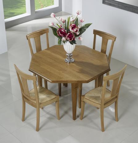Table à volets octogonale 120x120 réalisée en Chêne Massif 4 pieds fuseaux 2 allonges de 40 cm