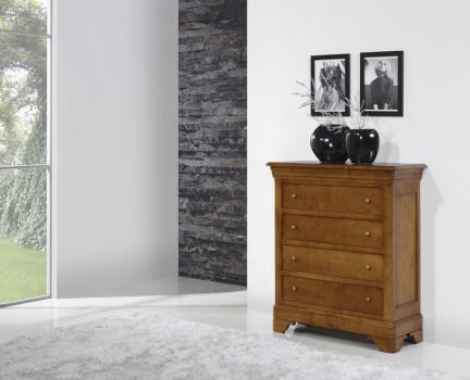 Commode 4 tiroirs Nathalie réalisée en Merisier de style Louis Philippe