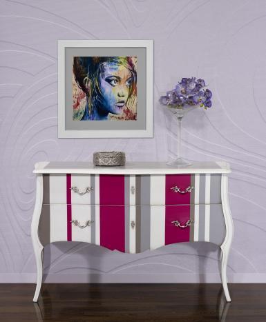 Commode 2 tiroirs Sabine réalisée en Merisier de style Louis XV
