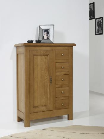Farinier 1 porte 5 tiroirs Amaury réalisé en Chêne Massif de style Campagnard