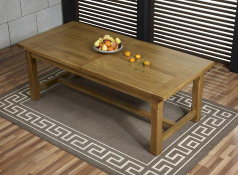 Table de ferme rectangulaire Axel réalisée en Chêne massif 180x100 + 2 allonges de 45